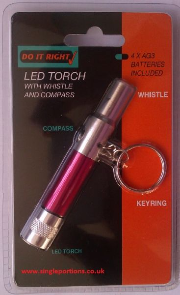 LED mini torch, with whistle and compass